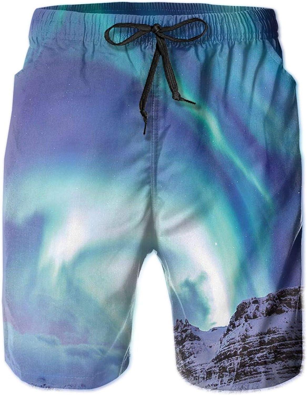 Aurora Borealis Kirkjufell Iceland Natural Phenomenon Northen Environment Mens Swim Shorts Casual Workout Short Pants Drawstring Beach Shorts,XXL