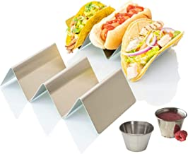 """Taco Holder Stand Rack, Stainless Steel 4-Pack, Mexican Food Serving Tray. Stands Hold Up to 3 Tacos, Burritos, Hot Dog, and More!. Grill and Oven Use Safe, Dishwasher Safe for Easy Cleaning, 4"""" x 8"""""""