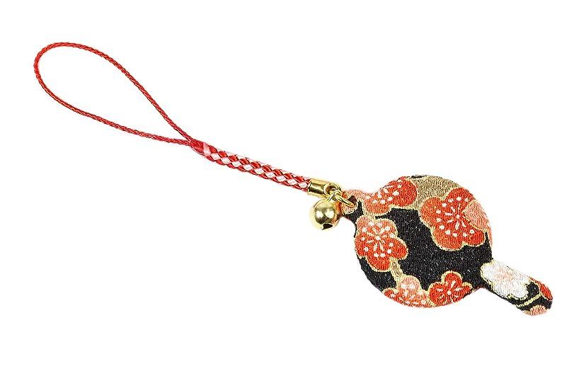 ZOON(ズーン) 花ちりめん ミニハンドミラー 梅 和柄 着物 ちりめん 生地 布製 根付け ミニ鏡 日本製 お土産 梅