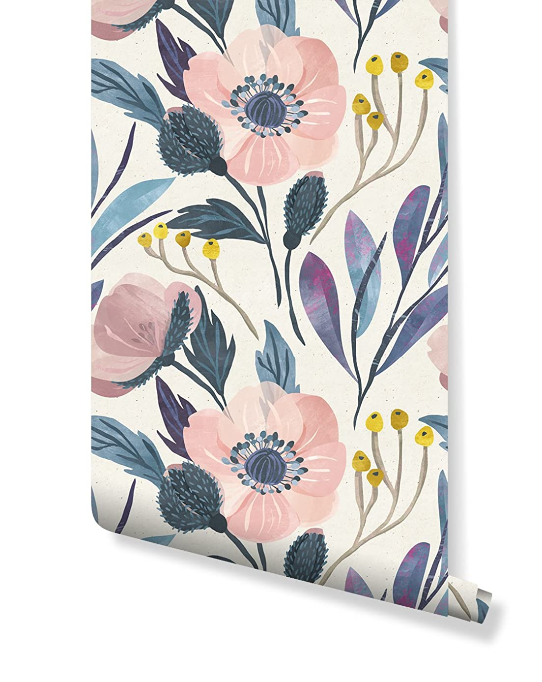 Temporary Self Adhesive Wallpaper Sample with Watercolor Floral Pattern on Paper Texture, Great for Bedroom & Living Room Wall Decor, Peel and Stick Application CC005 (6'' x 10'')
