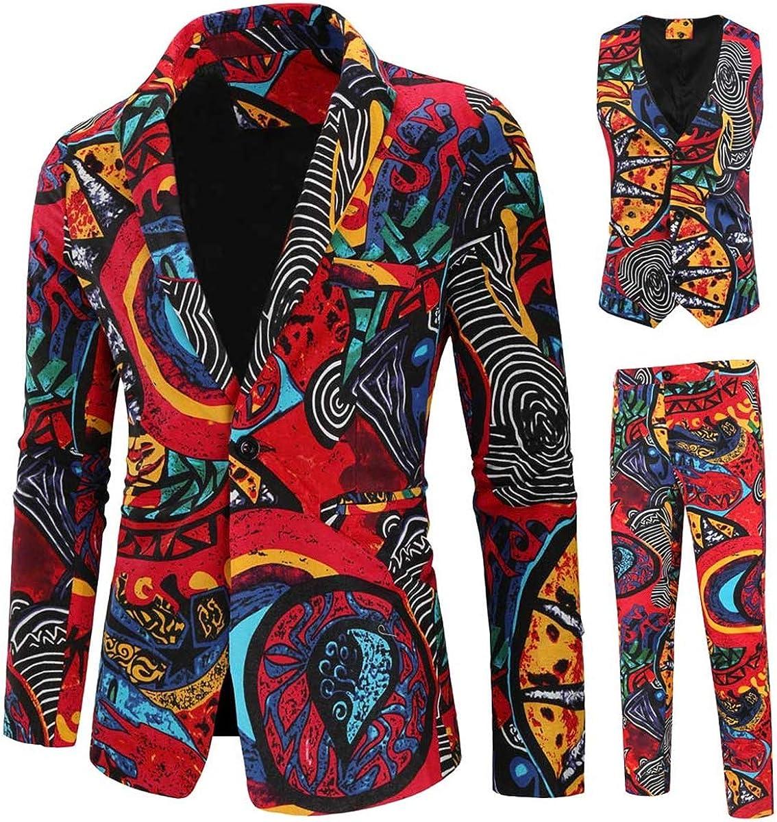 Mens Paisley Suits 3 Piece Print Party Suit Set Slim Fit Tux Dress Jacket Outfit