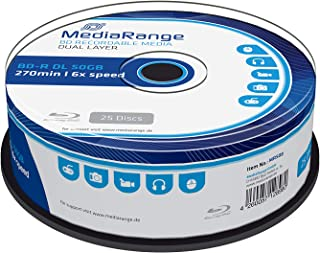 MEDIARANGE BD-R Dual Layer 50GB 6X Writing Speed, 25 Cakebox