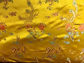 Chinese Faux Silk Dragon Peacock Brocade Satin Fabric Sold by The Yard (Yellow Gold)