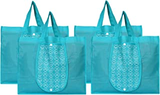 SHOPATHON INDIA Grocery Vegetable Foldable Smiley Non-Woven Fabric Shopping Bag, Washable Reusable Tote Hand Bag with One ...