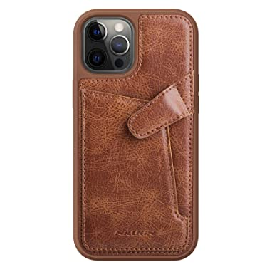 """Nillkin Case for Apple iPhone 12 Pro Max (6.7"""" Inch) Aoge Leather 360 Protection Elite Business Case with Soft Microfiber Lining & Internal Card Slot Brown"""