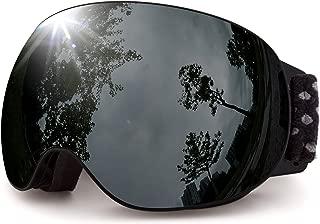 MEETLOCKS OTG Ski Goggles, Interchangeable Lens, 100% UV400, Anti-Fog Windproof, Frameless Detachable Spherical Dual Lens & Case, for Skiing, Snowboard, Snowboarding, Snowmobile Eyewear