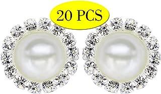 Wholesale 20 PCS Retro Vintage Round Crystal Ivory Faux Pearl Rhinestone Buttons Bulk,18MM (Flatback)