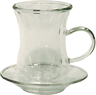 Double Wall Clear Glass Teacups With Handle, Set of 6 Pcs