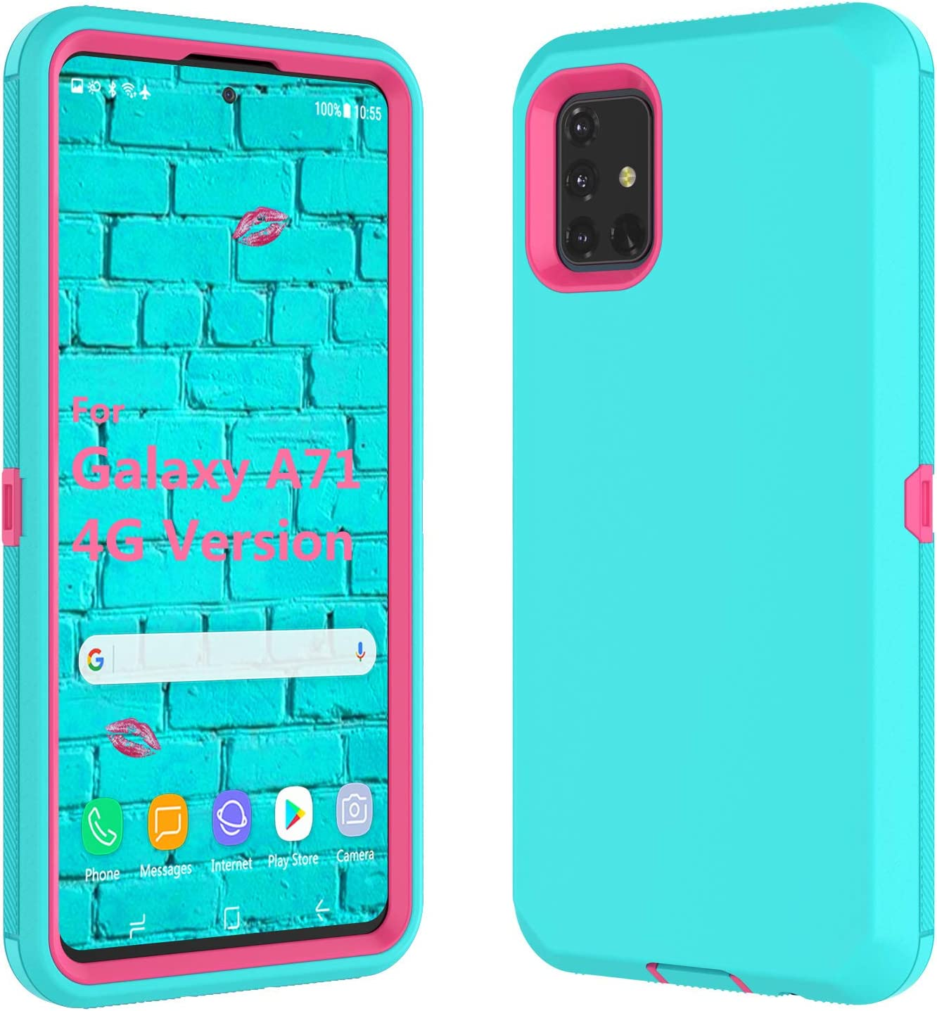 Galaxy A71 Case, Thybx [Drop Protection] Full Body Shock Dust Absorbing Grip Plastic Bumper TPU 3-Layers Durable Solid Phone Sturdy Hard Cases Cover for 6.7