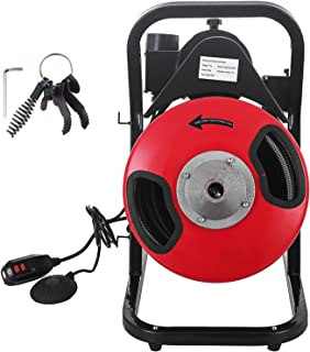 SHZOND Drain Cleaning Machine 1/2 Inch x 50 Ft Drain Cleaner Machine with 4 Cutter and Foot Switch Electric Drain Pipe Cleaner for 1 to 4 Inch Pipes (50 FT)