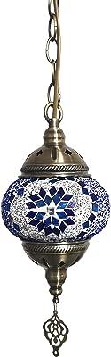 Turkish Mosaic Pendant Lamp Ceiling Light Handmade Turkish Glass Mosaic Hanging Light Blue Chandelier for Living Room Bedside Lamp