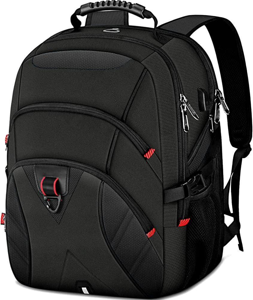 Ktmouw, zaino da uomo, porta pc 18,4 pollici,  con porta usb, impermeabile, multifunzionale per laptop, nero