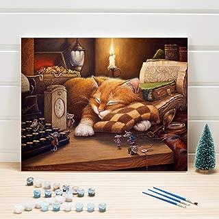 Pintura Pintura al óleo por números Animales de gato en lienzo Cuadros de pared de bricolaje para la decoración de la sala Acrílicos Artes para colorear Adultos 40x50cm-Con marco