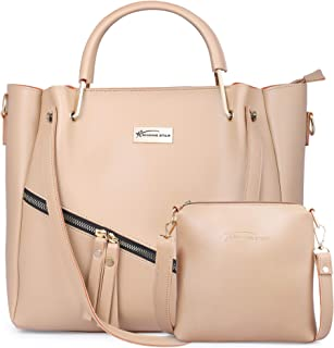 Shining Star Women's Cream Handbag with Sling Bag Combo