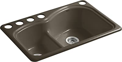 KOHLER K-5839-5U-20 Woodfield 33-Inch x 22-Inch Undermount Smart Divide Large/Medium Double-Bowl Kitchen Sink with 5 Oversized Faucet Holes, Suede