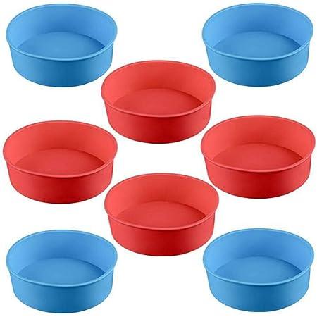 Miotlsy Lot de 8 moules en silicone pour tartes à fruits, quiches et à gâteaux ronds de 10 cm