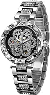 Forsining Women's Stylish Analogue Dial Automatic Skeleton Watch with Stainless Steel Bracelet