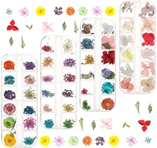 Solider 144 Pcs Nail Dried Flowers Real Natural Flowers Nail Art Supplies 3D Applique Nail Decoration Colorful Nail Sticke...