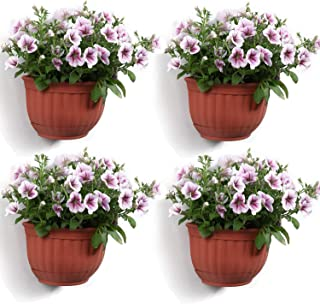 T4U Resin Wall Planter Brick Red Set of 4, Wall Mounted Garden Plant Flower Pot Basket Container Indoor Outdoor Use for Or...