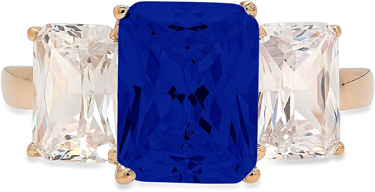 3.94ct Brilliant Emerald Cut 3 Stone Solitaire with Accent Flawless Ideal Genuine Cubic Zirconia Blue Sapphire Engagement Promise Statement Anniversary Bridal Wedding Designer Ring 14k yellow Gold