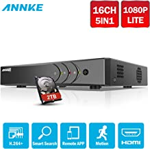 ANNKE 16CH 1080P Lite Surveillance Digital Video Recorder HD-TVI/AHD H264+ Full-HD DVR and 2TB Hard Drive, Cell Phone APPs for Home & Office,Email Alarm with Image