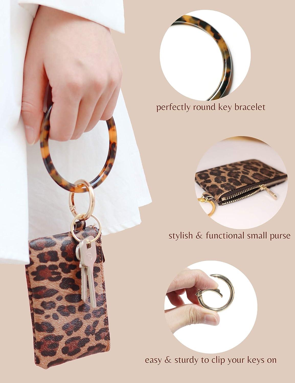 Keychain Bracelet with Wallet Leopard Key Ring Bracelet for Women Wristlet Keychain Bangle Keyring for Wrist