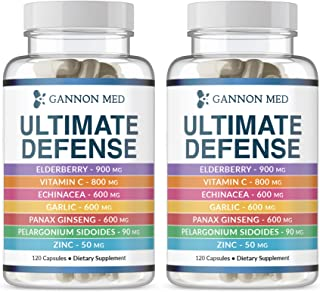 Ultimate Defense - Zinc 50mg - Vitamin C 800mg - Sambucus Elderberry 900mg - Echinacea P. 600mg - Ginseng 600mg - Pelargon...
