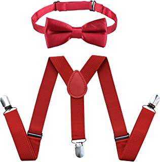 Raylarnia Children Kids Suspenders Bowtie Set,Extra Sturdy Polished Silver Metal Clips,Adjustable Length 1 inches Suspender with Bow Tie Set for Boys and Girls-Red