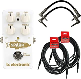 TC Electronic Spark Booster Effect Pedal Bundle w/4 Free Cables