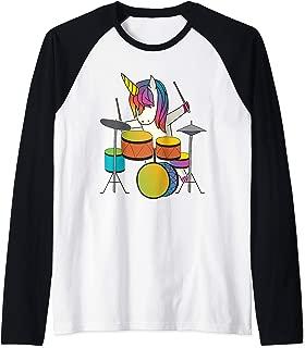 Unicorn Playing Drums Funny Magical Drummer Music Musician Raglan Baseball Tee