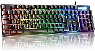 ゲーミングキーボード 8000万以上クッリク可能 RGB1680万色 8種類LEDバックライト アルミ合金パネル メカニカルな感触 防水機能 25キーロールオーバー 全Fキーを装備 Siensync USB有線キーボード PCキーボードUSBキーボード 【日本語配列】 Windows/Mac OS対応 オフィス・ゲームに適用 日本語取扱説明書付き 【メーカー正規品&2年間無償保証】ブラック G010型