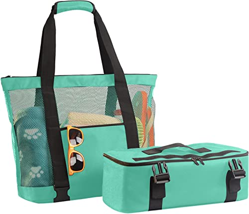 popular Mesh Beach Bag with Detachable Cooler Cooling Mesh Beach Tote high quality Insulated new arrival Cooler Swimming Pool Bag Mesh Beach Cooler Tote Bag Insulated Cooling Camping Bag Picnic Travel Pool Beach Bag Pouch, SegkopuoL (Green) online