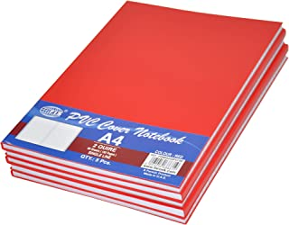 5-Piece FIS PVC Cover Note Book, 96 sheets, 192 pages, A4 Size, Single Line, Red Colour - FSNBA42QPVCRE