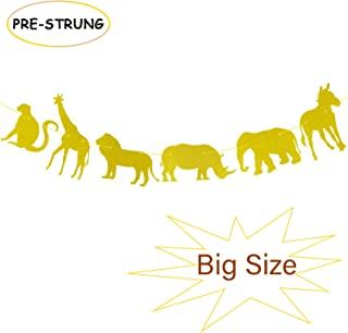 Gold Glitter Jungle Safari Animal Banner Zoo Themed Baby Shower Kids Birthday Party Supplies Decorations