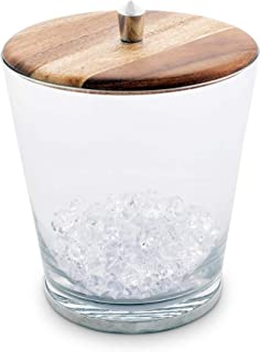 Vagabond House Modern Handblown Glass Ice/Wine Bucket with Teak and Pewter Lid; Tribeca Collection 8.25 Inches Tall