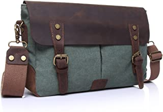 SGJFZD Retro Shoulder Bag Briefcase Crazy Horseskin Men's Crossbody Bag Small Bag (Color : Bronze, Size : S)