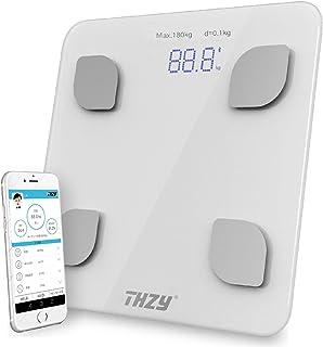 THZY 体重計 体重・体組成計・体脂肪計 スマホ対応 体脂肪率/BMIなど測定 スマホ連動 アプリで健康管理 毎日手軽に体重管理 肥満の予防・改善サポーター (グレー)