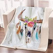 ARIGHTEX Boho Chic Western Bull Skull Blanket Watercolor Floral Cow Skull Blanket Reversible Sherpa Fleece Throw Blankets (50 x 60 Inches)