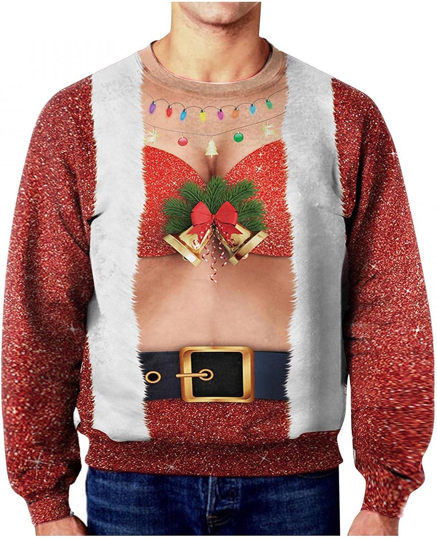 LEIYAN Ugly Christmas Sweatshirts for Men Long Sleeve Crew Neck Funny Design 3D Digital Printing Merry Xmas Pullover