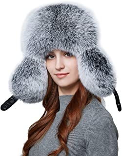7e4a1175460 BeFur Warm Women Winter Hat Earflap Real Fox Fur Patchwork Genuine Leather  Caps with Earflaps Russian
