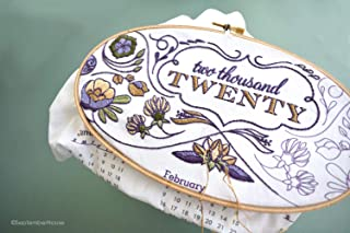 2020 Calendar embroidery kit with matching floss