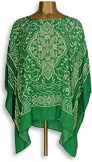 Susan Graver Women's Top Size L Printed Woven Scarf Top Green A304076
