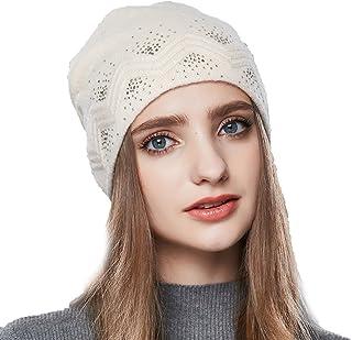 64bbfedcbf78c URSFUR Automne Hiver Chapeau Bonnet Jersey Beanie Femme Fille Bonnet Tricot  Laine à Strass