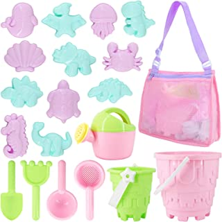 Tagitary Beach Sand Toys Set 20Pcs Beach Toys for Kids 3-10 Kid Sand Toy with Beach Bucket Watering Can Shovel Rake Sand M...