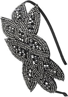 Beaded Flapper Headband Leaf Vintage 1920s Inspired Hairband Hair Accessory, Grey