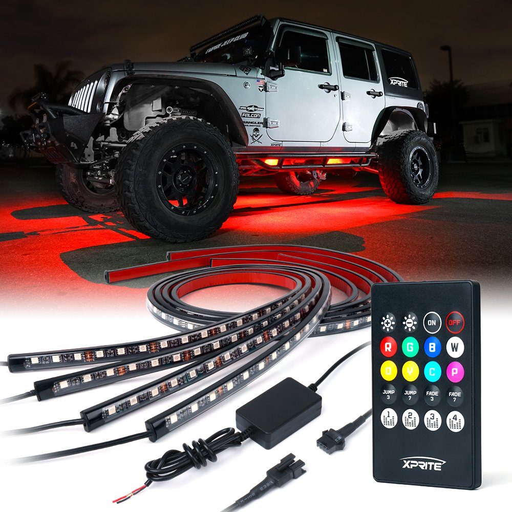 Xprite Car Underglow Underbody System Neon Strip Lights Kit