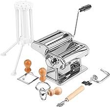 MJM Pasta Maker, Pasta Machine Set, Pasta Roller with Hand Crank, Attachment for Spaghetti, Tagliatelle, Fettuccine, Ravio...