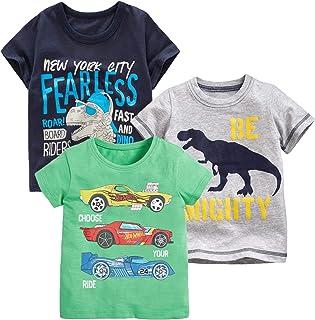 Toddler Boy Tees Short Sleeve Tops T-Shirt Summer Graphic Crewneck Cotton Casual Tshirt 3 Packs Sets