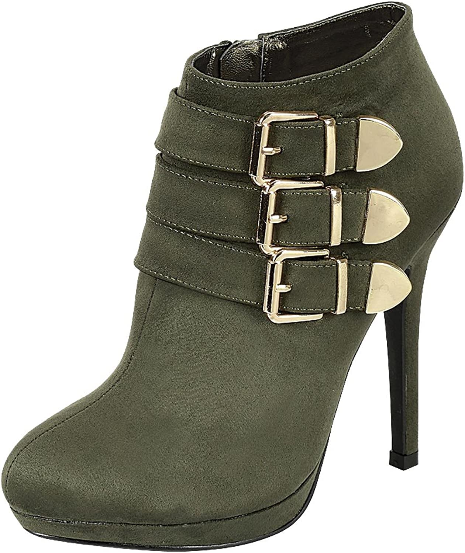 Forever Link Women's Almond Toe Platform Ankle High High Heel Dress Bootie
