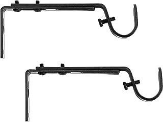 Kenney Adjustable Curtain Rod Brackets, Black (2-Pack)